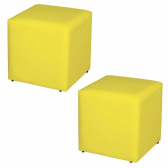 Kit 02 Puffs Quadrado Decorativo Corino Amarelo - Lymdecor - Mkp000320000689