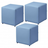 Kit 03 Puffs Quadrado Decorativo Corino Azul - Lymdecor - Mkp000320000543